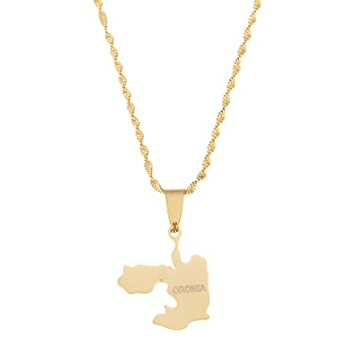 Ethiopia Oromia Map Pendant and Necklaces for Women Oromo Jewelry