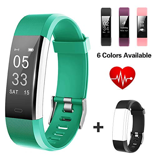 Lintelek Fitness Tracker, Big Screen Activity Tracker with Heart Rate Monitor, Waterproof Smart Band, Pedometer Fitness Watch for Women, Business and Sporty Men ()