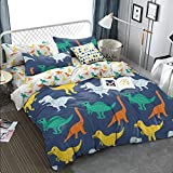 KFZ Dinosaurs Pattern Ultra Soft Duvet Cover Set, 3PCs Queen Size with 1 PC 90'x90' Duvet Cover (Without Comforter Insert) and 2 PCs 20' x30 Pillow Cases for Teen Boys and Girls