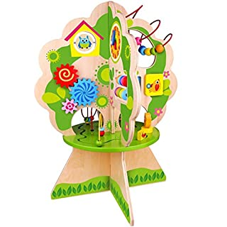 Pidoko Kids Multi Activity Center Tree, Table Top Adventures - Wooden Bead Maze Play Toy for Toddlers Boys & Girls - Activity Cube Inspired Concept