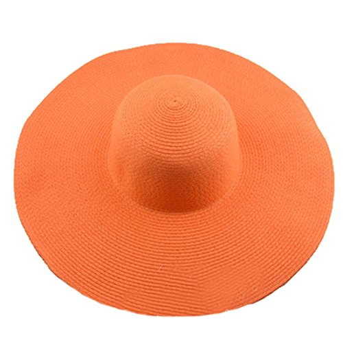 AngelCity Brides Womens Beach Hat Striped Straw Sun Hat Floppy Big Brim Hat (Orange)