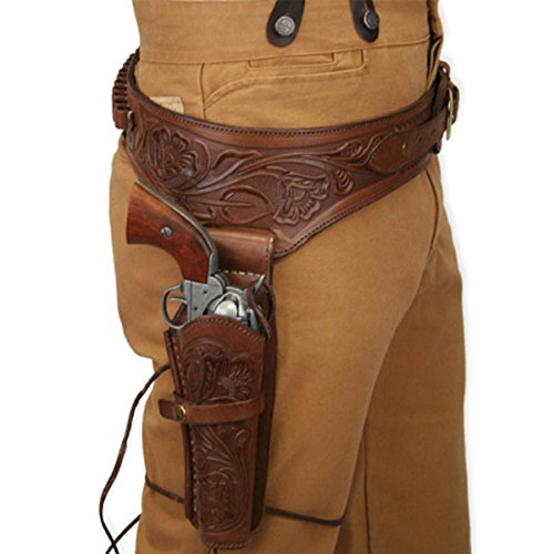 Historical Emporium Men's Right Hand Tooled Leather Western Gun Belt and Holster .22 Cal 42 Chocolate