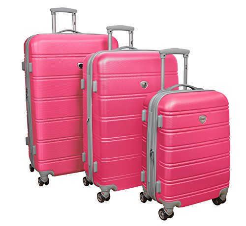 3Pc Luggage Set Hard Rolling 4Wheels Spinner Upright CarryOn ABS Travel (Pink) (Suitcase Hot Pink)