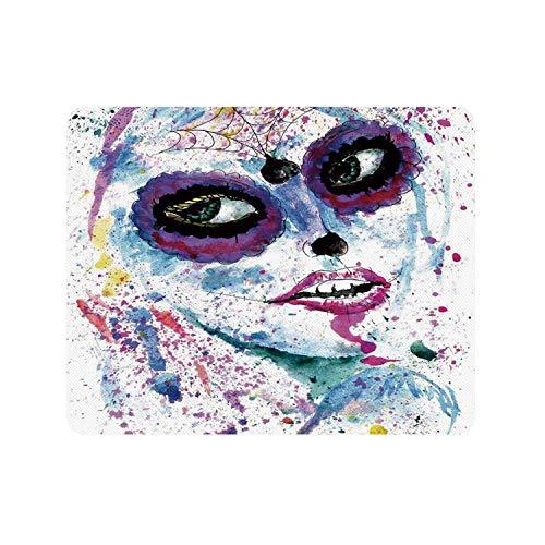 Girls Durable Rectangle Mousepad,Grunge Halloween Lady with Sugar Skull Make Up Creepy Dead Face Gothic Woman Artsy for Company,9.84