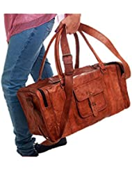 Duffel Bag Genuine Vintage Brown Leather Goat hide 24 Travel Luggage bag