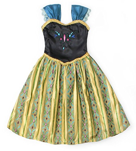 Cotrio Little Girls Anna Coronation Dress Princess Anna Costume Dress up Halloween Cosplay Party Fancy Dresses Size 4T (110, Green 02) by Cotrio (Image #4)