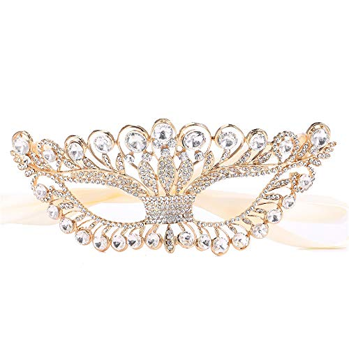 Santfe Womens Rhinestone Crystal Fancy Masquerade Eye Mask for Halloween Party (Style 11-Gold)