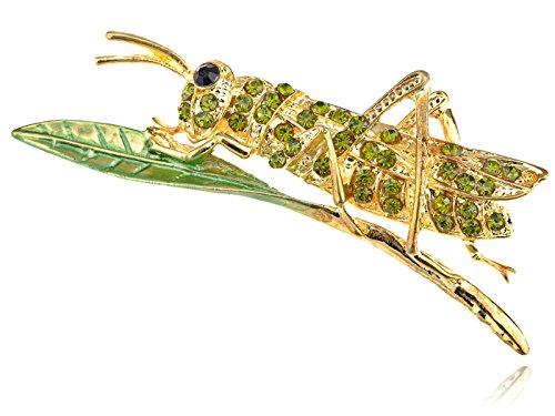 Golden Dark Green Crystal Rhinestone Leaf Grasshopper Locust Cricket Pin Brooch
