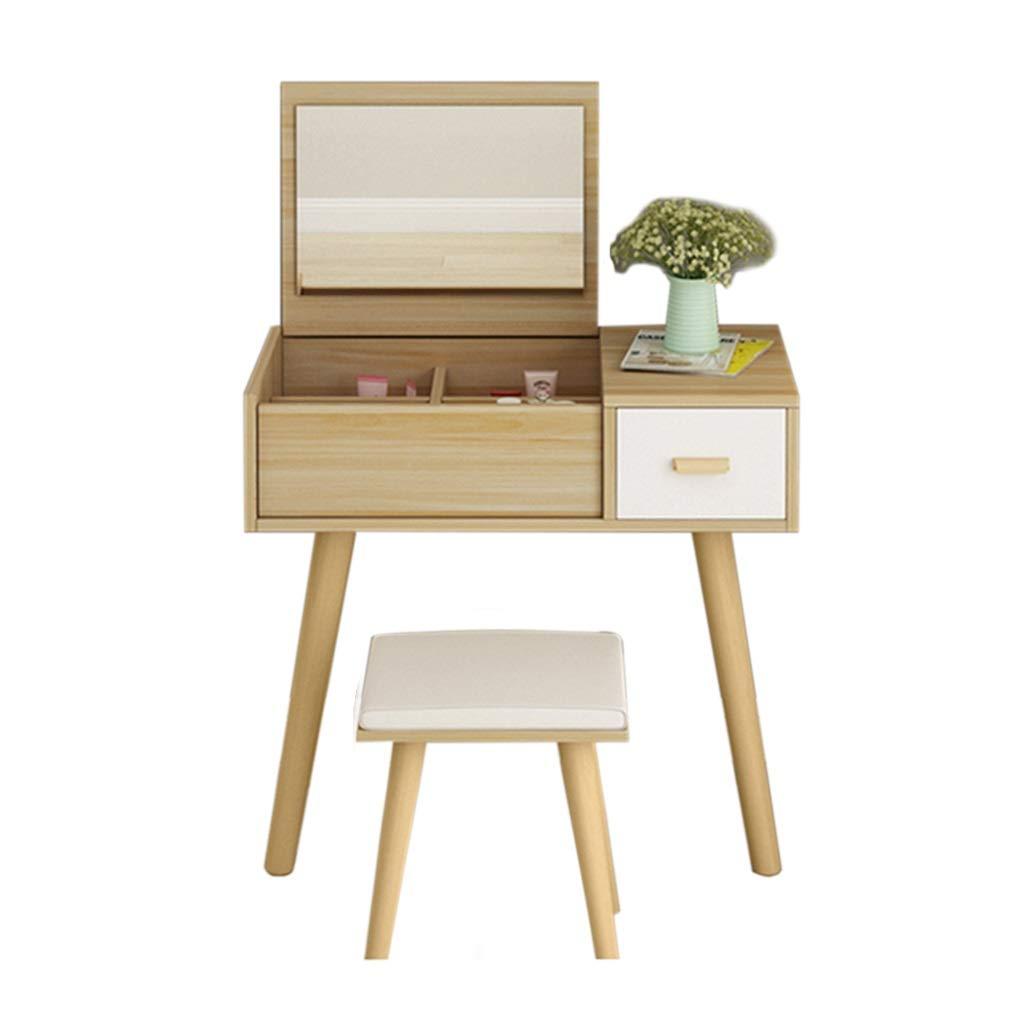 Nussbaum B CJX-Dressing Tables Schlafzimmer-Ankleidetisch, Hotel-Make-uptabelle-Schlafsaal-Spiegel-Foto-Studio-Make-uptabelle speichern Multifunktions-Tabellen-Lernen-Schreibtisch (Farbe   Nussbaum, größe   B)