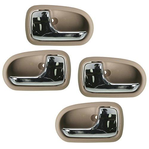 Interior Inside Door Handle Chrome Light Brown Front Rear Set of 4 for (03 Mazda Protege 4 Door)
