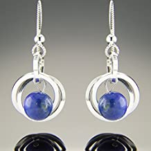 Dainty Argentium Sterling Silver Blue Lapis Lazuli Gemstone Dangle Earrings
