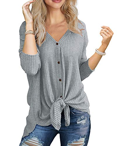 IWOLLENCE Womens Waffle Knit Tunic Blouse Tie Knot Henley Tops Bat Wing Plain Shirts Light Gray M