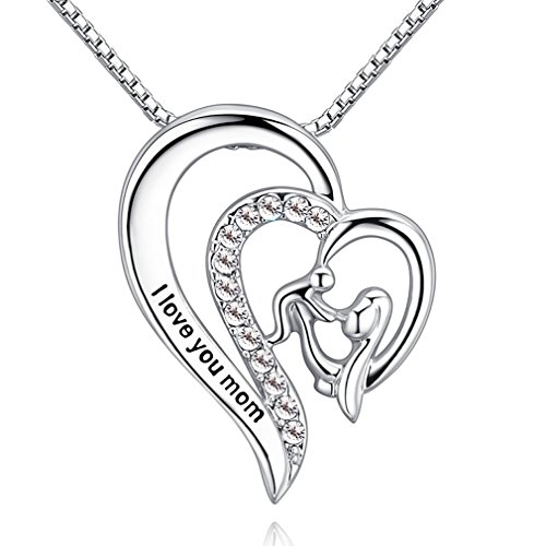 Xingzou Mother Daughter Gift, I Love You Mom Heart Pendant Necklace for Women Girls, Mum Heart Jewelry