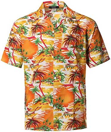 Youstar Men's Hawaiian Print Button Down Short Sleeve Shirt