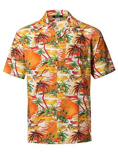 Beach Hawaiian Tropical Caribbean Print Button Down Shirt Yellow Size L