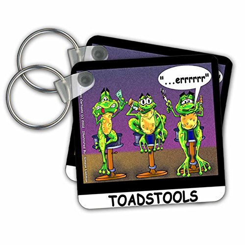 Londons Times Funny Animals Cartoons - Toadstools Frogs Who Drink Too Much - Key Chains - set of 2 Key Chains -