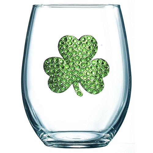 Shamrock Jeweled Stemless Wine Glass - Unique Gift for Women, Birthday, Cute, Fun, St Patricks Day