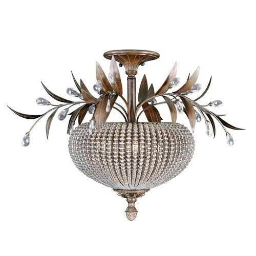 Uttermost 22221 Golden Bronze Cristal De Lisbon 3 Light Semi-Flush Ceiling ;from#buildinc ()