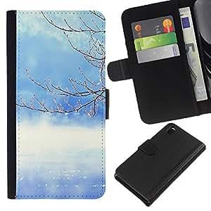 KLONGSHOP // Tirón de la caja Cartera de cuero con ranuras para tarjetas - Naturaleza del árbol del invierno - Sony Xperia Z3 D6603 //