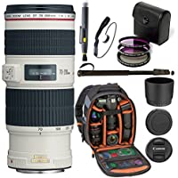 Canon EF 70-200mm F/4 L IS USM Lens for Canon Digital SLR Cameras, Ritz Gear Photo Backpack, 72 Monopod, Ritz Gear 67mm 3-Piece Filter Kit, Lens Cleaning Pen, & Accessory Bundle