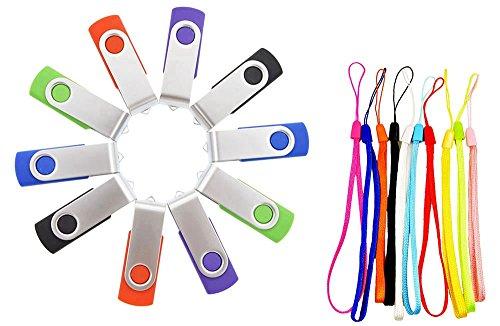 FEBNISCTE 10 Pack 8GB Swivel Design USB 2.0 Flash Drive Memory Stick (5 Mixed Colors: Black Blue Green Purple Red) - 20 Dollar Graphics Card