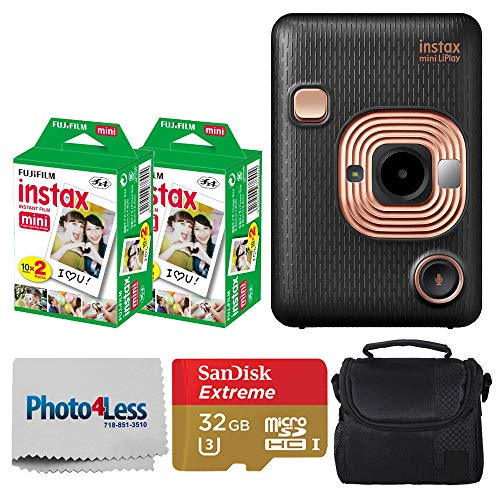Fujifilm Instax Mini LiPlay Hybrid Instant Camera (Elegant Black) + Fujifilm Instax Instant Film (40 Shots) + 32GB mciroSDHC Memory Card + Camera/Video Case + Photo4Less Cleaning Cloth – Deluxe Bundle