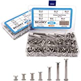 Seloky 140-Set Slotted Chicago Screw Binding Screws Posts Assortment Kit for Scrapbook Photo Albums Binding and Leather Saddles Purses Belt Repair(M5 x 6/10/12/15/25/35/45)