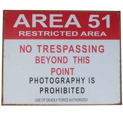Area 51 Tin Sign 15 x 12in