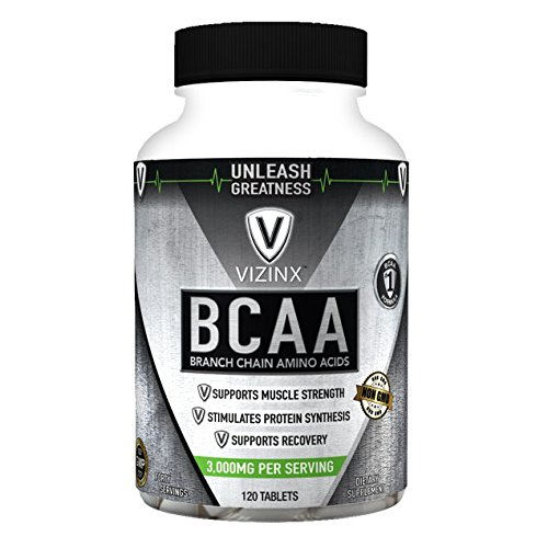 VIZINX BCAA 2:1:1 – HIGH POTENCY Branch Chain Amino Acid Tablets support muscle strength, recovery and stimulates protein synthesis, NON-GMO Formula, 120 Tablets, For Sale