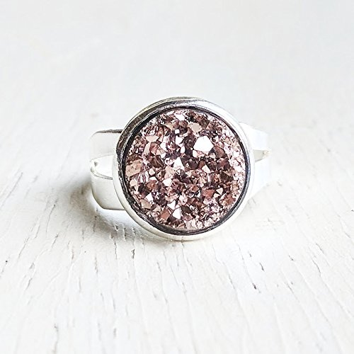 (Rose Gold Druzy Ring - Silver Plated Adjustable Ring Band - Sparkling Rose Gold)