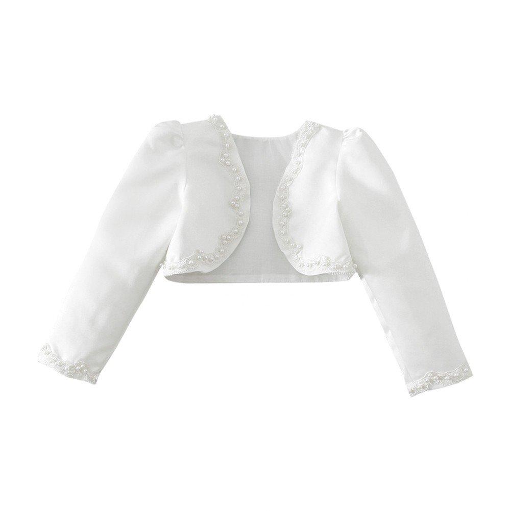 iiniim Girl's Long Sleeve Beaded Bolero Jacket Shrug Short Cardigan Dress Cover up Ivory 2-3