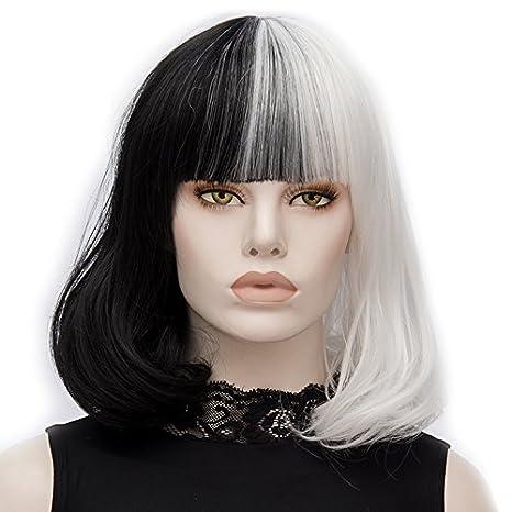 ATAYOU-WIG2 tonos de longitud media Bob mujeres cosplay pelucas sintéticas (Medio negro medio