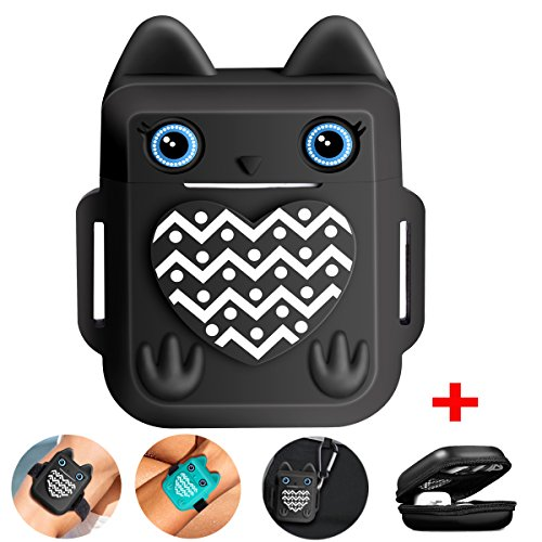 VOMA for Apple Airpods Case Airpods Skin, Apple Airpods Accessories Airpods Cover[Cute Owl Design][Shock Resistant][Added Keychain, Carrying Case& Airpods Straps](Black)