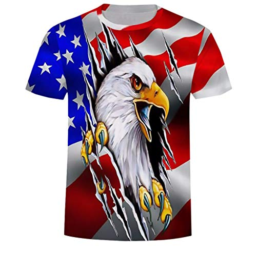 XQXCL Men Fashion T Shirt Novelty Printing Independence 3D Printed Casual Blouse