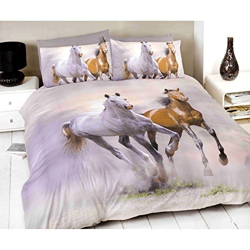 Galloping Horses Single/US Twin Duvet Cover and Pillowcase (Twin Horse Comforter)