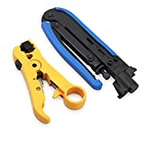Tanice Coax Compression Tool Coax Cable Crimper with Coaxial Cable Stripper for RG6 RG59 RG11