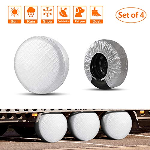 """HEALiNK Rv Tire Covers Set of 4 for RV Wheel Waterproof Oxford Tires Protector Covers for Motorhome Truck Trailer Camper Auto (30"""" for Tire Diameter 76cm, Tire Width 30cm)"""