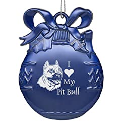 Solid Pewter Christmas Ornament - I Love My Pit Bull - Blue