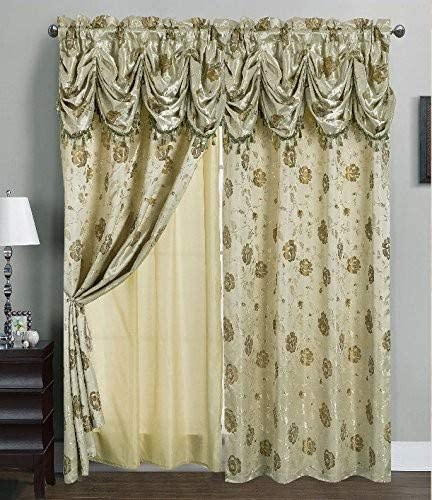 Cheap RT Designers Collection Kelly Jacquard 54 x 84 in. Rod Pocket Curtain Panel w/ Attached 18 in. Valance window curtain panel for sale