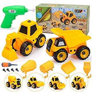 Take Apart Toys with Electric Drill , 2 in 6 Construction Truck Take Apart Toy for Boys, Gift Toys for Boys 3,4,5,6,7 Year Olds, Kids Building Beach Toy Construction Vehicle Car