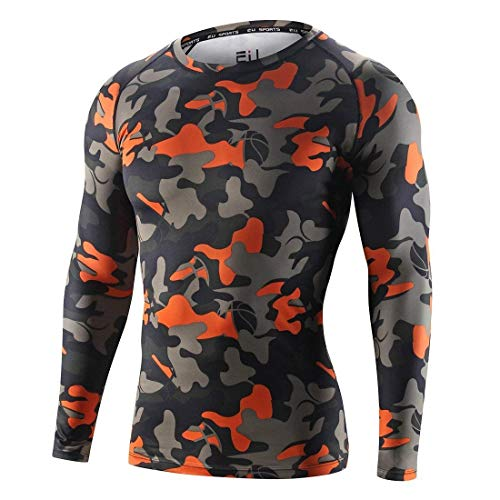 Witkey Men's Compression Tight Tops Long-Sleeved T-Shirt Camouflage Tights for Running,Training Baselayer Camouflage Long Sleeved T-shirt