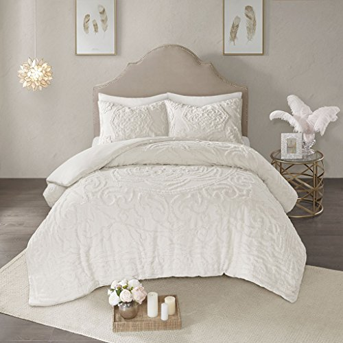 Madison Park Laetitia Duvet Cover Reversible Solid 100% Cotton Chenille Tufted Floral Flower Botanical Medallion Fluffy Texture Soft Durable All Season Bedding-Sets, Full/Queen, Ivory