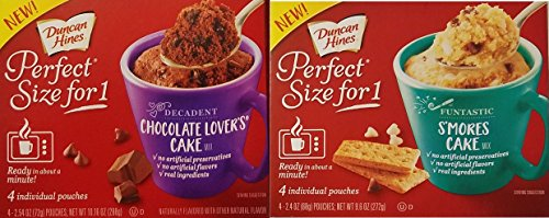 Duncan Hines Perfect Size For 1 Decadent Chocolate Lovers Cake amp Funtastic Smores Cake Varity Bundle