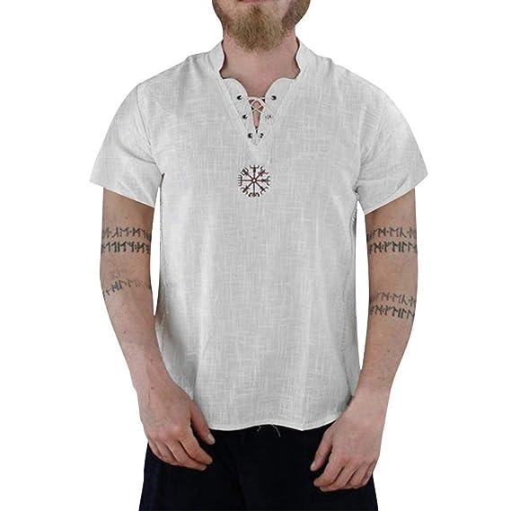 TUDUZ Camisetas Hombre Verano Manga Corta Lino Puro Camisas ...