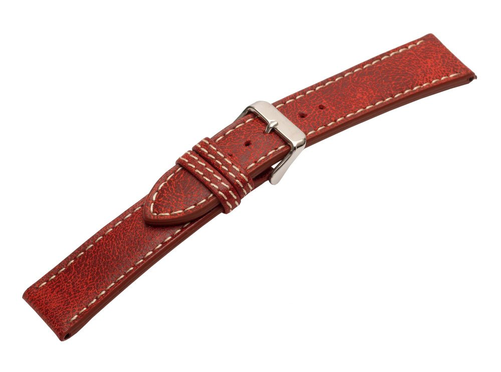 Strapped For Time 22mm Red Leather Bomber Jacket Watch Band