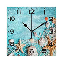 Naanle 3D Summer Seashells Starfish on Fishing Net Fresh Print Silent Square Wall Clock Decorative, 8 Inch Battery Operated Quartz Analog Quiet Desk Clock for Home,Office,School(Turquoise)