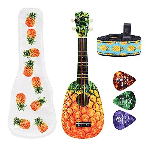 CLOUDMUSIC Ukulele Soprano Pineapple Ukulele Kit With Pineapple Ukulele Gig Bag Ukulele Picks Aquila Educational Strings Color Strings by CLOUDMUSIC