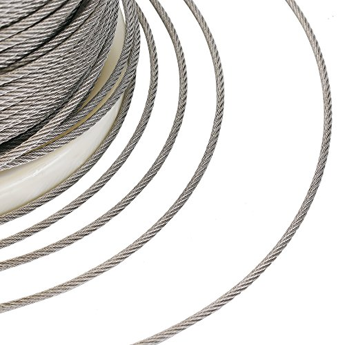Muzerdo 200Ft Stainless 1/8Inch Aircraft Steel Wire Rope Cable 7x7 for Railing, Decking, DIY Balustrade by Muzerdo (Image #5)