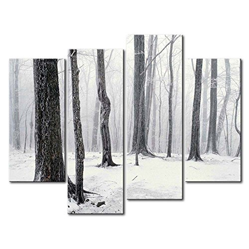 Black & White 4 Panel Wall Art Painting Winter In The Forest Snow Pictures Prints On Canvas Landscape The Picture Decor Oil For Home Modern Decoration Print For Bathroom (Winter Snow Paintings)