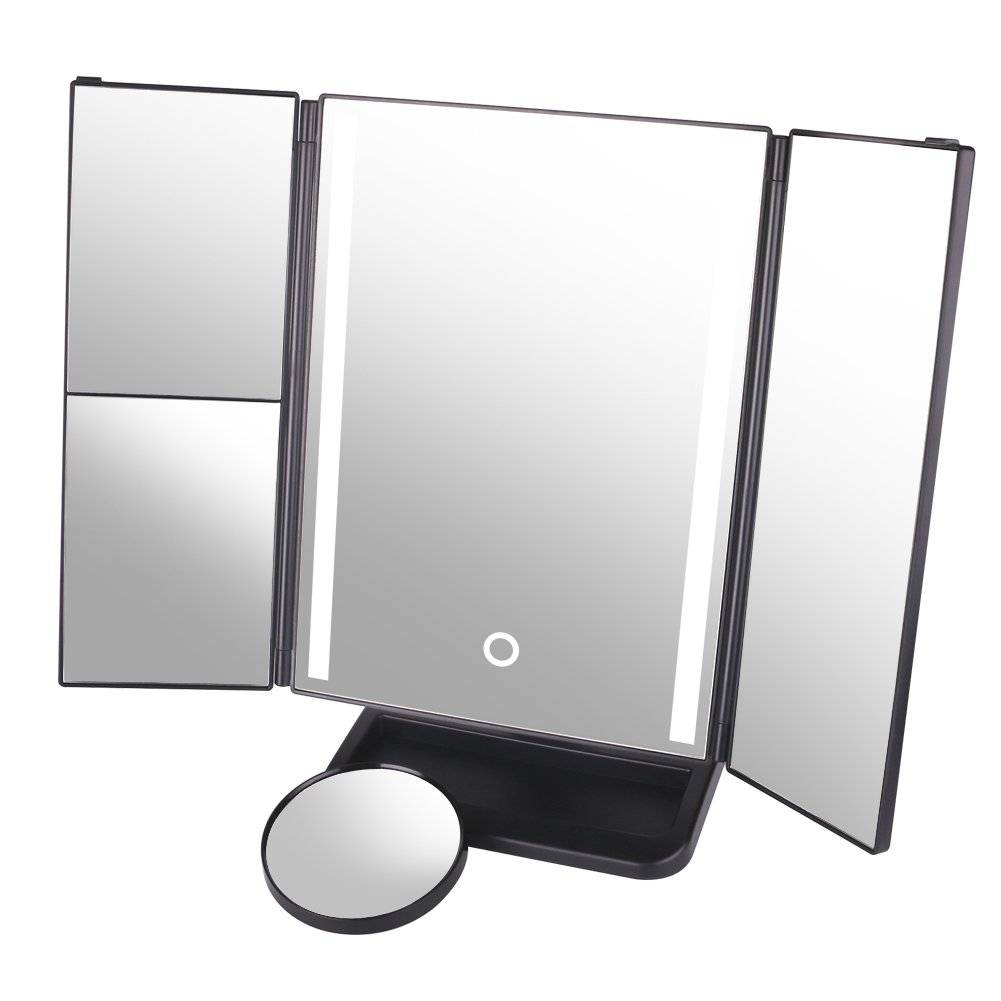 DUcare Makeup Vanity Mirror with Lights 4 Type,10x/3x/2x Magnification,Tri-Fold with Touch Screen,180 Degree Free Rotation Table Countertop Mirrors
